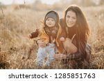 young caucasian mother with a... | Shutterstock . vector #1285851763