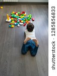 happy baby playing with toy... | Shutterstock . vector #1285856833