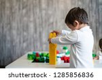 happy baby playing with toy... | Shutterstock . vector #1285856836