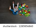 happy baby playing with toy... | Shutterstock . vector #1285856860