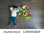happy baby playing with toy... | Shutterstock . vector #1285856869