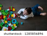 happy baby playing with toy... | Shutterstock . vector #1285856896