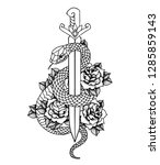 tattoo with roses and snake ... | Shutterstock .eps vector #1285859143