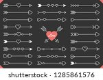 24 hand drawn arrows with... | Shutterstock .eps vector #1285861576