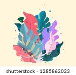botanical drawn gift card.... | Shutterstock .eps vector #1285862023