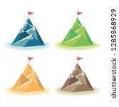 set of flag on the mountain... | Shutterstock .eps vector #1285868929