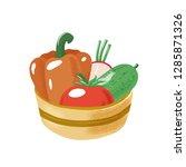 tomato  bell pepper  radish and ... | Shutterstock .eps vector #1285871326