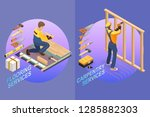 house repair isometric template.... | Shutterstock .eps vector #1285882303