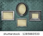 set of wooden vintage silver ... | Shutterstock . vector #1285883533