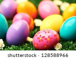 close up of colored easter eggs | Shutterstock . vector #128588966