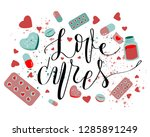 inprint love cures in center...