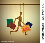 shopping addiction concept ...   Shutterstock .eps vector #1285904473