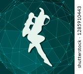 jumping astronaut in spacesuit. ... | Shutterstock .eps vector #1285910443