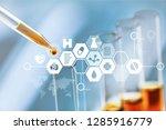 oil test analysis beaker bio...   Shutterstock . vector #1285916779
