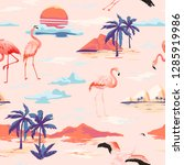 tropical island and flamingo... | Shutterstock .eps vector #1285919986