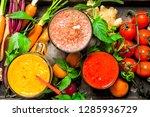 fresh fruit  vegetable and... | Shutterstock . vector #1285936729