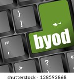 byod green keyboard key of a... | Shutterstock . vector #128593868