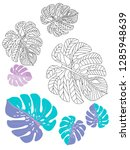 vector tropical pattern with... | Shutterstock .eps vector #1285948639