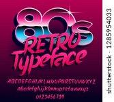 80s retro typeface. uppercase... | Shutterstock .eps vector #1285954033