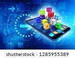 3d illustration of smart phone... | Shutterstock . vector #1285955389