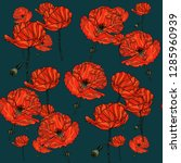 seamless floral pattern with... | Shutterstock .eps vector #1285960939
