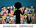 man speaking to audience.... | Shutterstock .eps vector #1285962163