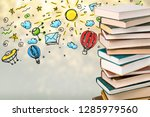 stack of books  education and... | Shutterstock . vector #1285979560