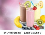 fruit smoothies with straws ...   Shutterstock . vector #1285986559