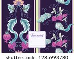 stylized ornamental flowers in... | Shutterstock .eps vector #1285993780