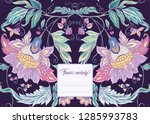 stylized ornamental flowers in... | Shutterstock .eps vector #1285993783