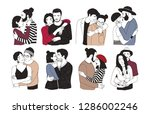 collection of romantic couples... | Shutterstock . vector #1286002246
