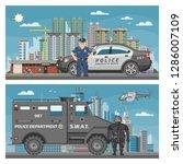 police car vector policeman... | Shutterstock .eps vector #1286007109