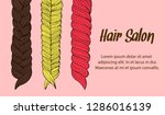 cartoon hair braids thin line... | Shutterstock .eps vector #1286016139