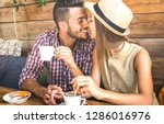 young fashion lovers couple at... | Shutterstock . vector #1286016976
