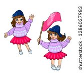 girls in a sweater with a pink...   Shutterstock .eps vector #1286027983