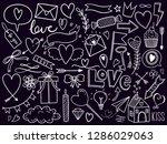 valentines day doodle set ...   Shutterstock .eps vector #1286029063