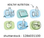 icon set healthy nutrition  ... | Shutterstock .eps vector #1286031100