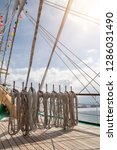 ropes on an old vessel  sailing  | Shutterstock . vector #1286031490
