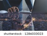 wireless network communication  ...   Shutterstock . vector #1286033023