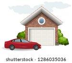 brick garage and car. vector... | Shutterstock .eps vector #1286035036
