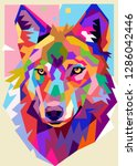 Illustration Of Colorful Wolf...