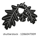 black and white oak branch... | Shutterstock . vector #1286047009