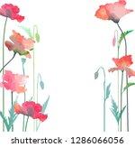 poppy flowers in watercolor... | Shutterstock .eps vector #1286066056
