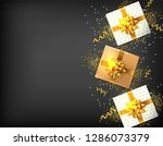gift boxes with golden bow... | Shutterstock .eps vector #1286073379
