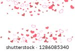 red hearts of confetti crumbled....   Shutterstock .eps vector #1286085340