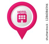 hotel icon and map pin. hotel...