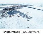 solar power plant  winter view | Shutterstock . vector #1286094076