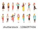 happy girls with flower...   Shutterstock .eps vector #1286097436