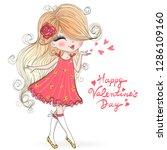 beautiful  cute  romantic girl... | Shutterstock .eps vector #1286109160