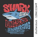 shark t shirt surf print design ... | Shutterstock .eps vector #1286112649
